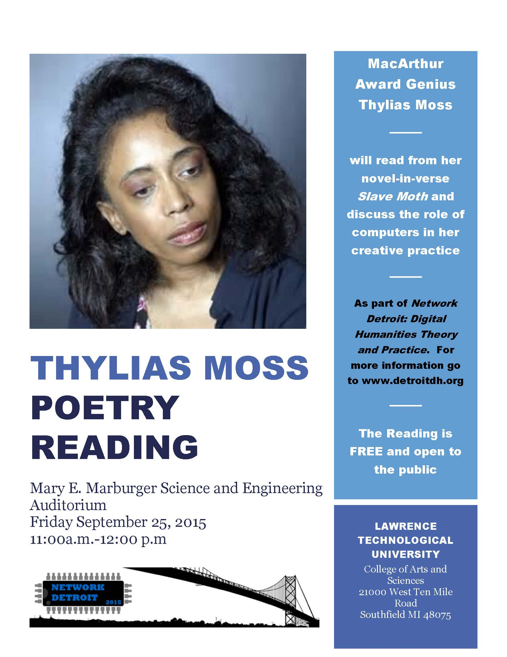 a biography of thylias moss a writer Author's bio exerpted from the inside back cover of the book thylias moss is a prize-winning poet who, in 1991, received the whiting writers' award as well as the dewar's profiles performance arts award for poetry, and in 1990 was the winner of the national poetry series competition.