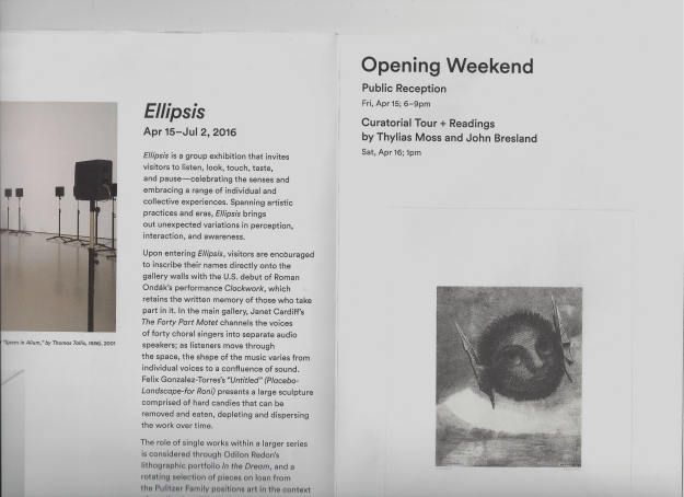 Ellipsis brocheye announcing Ellipsis Show, featuring work by Thylias Moss