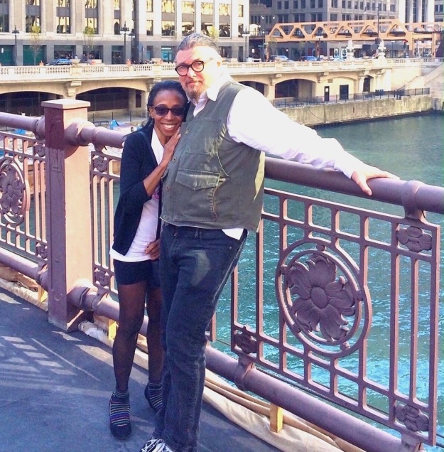 THYLIAS MOSS AND BOB HOLMAN on a bridge in Chicago 2014