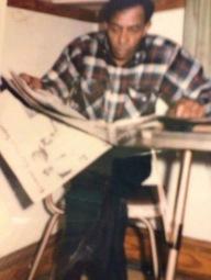 Calvin Theodore Brasier in his favrite kitvjen chair