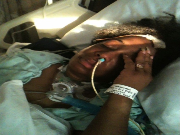 Thylias in hospital after the aneurysm ruptured