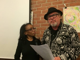 Thylias (Dream Baby) and Bob Holman, Mr. Poetry, Mr. Higgs at their first and only poetry performance, 16 April 2015, Hannan Cafe, Detroit Michigan