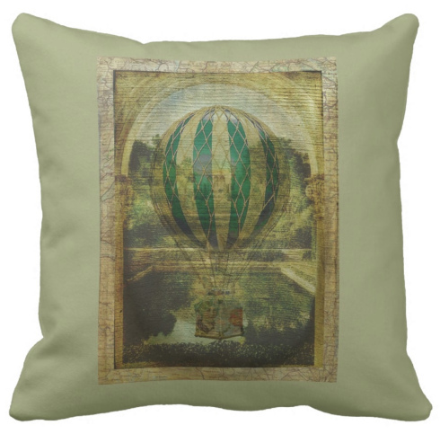 Hot Air Balloon Voyage Cushion © First Night Design